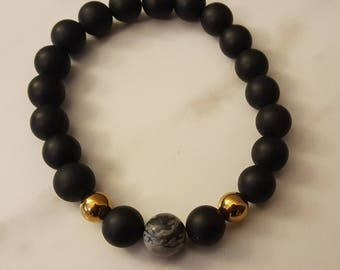 Matte black onyx bracelet with gold hematite and silk jasper