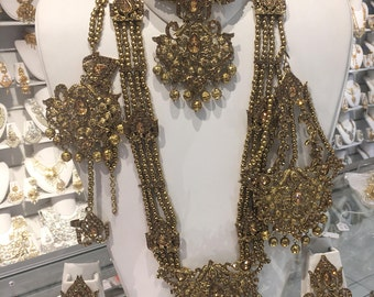 Indian bridal set, full antique gold with beads