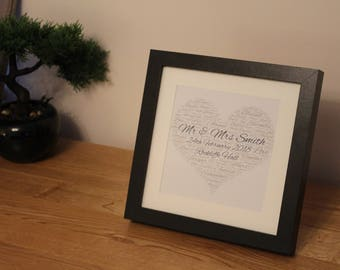 Personalised Wedding Framed Heart