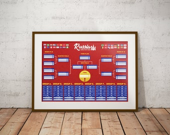 Russia World Cup 2018 Football Tournament Wall Chart
