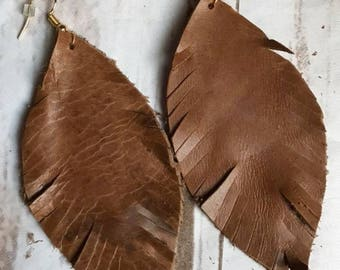 Dark Brown Feather Leather Earrings