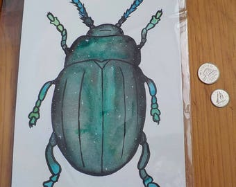 Original Watercolour Galaxy Beetle painting