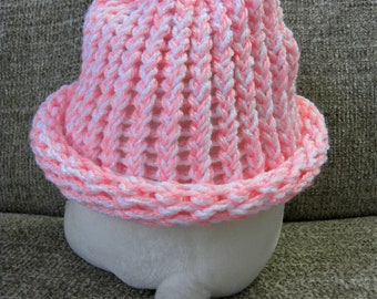 Pink and White Baby's Knit Hat