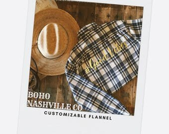Flannel shirt, #good vibes shirt, Gift for Her, gift for him, custom Flannel Shirt, gold foil, Gift, COTTON Shirt