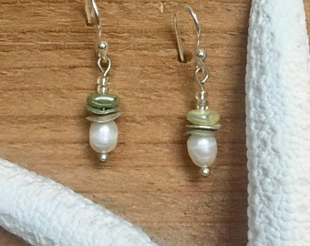Stone and pearl drop earrings