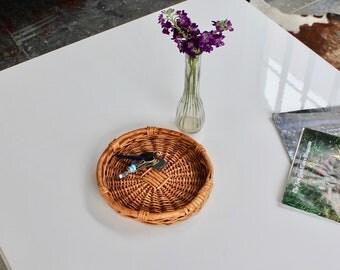 Boho Wicker + Wood Circle Basket