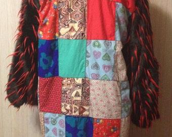 The 'Quilting Bee' Genuine Vintage Patchwork Quilt Playa Coat BURNINGMAN style OOAK Festival Upcycled Boho Jacket Playawear Size XLarge