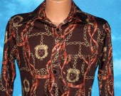 Hugger Horse Bridle Chain Brown Stretchy Disco Polyester Shirt Medium Vintage 1970s