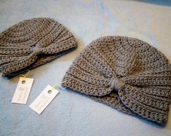 Grey Crocheted Turban Hat
