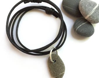 Sterling Silver Lake Erie Beach Stone Wishing Stone Pendant Necklace