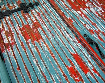 Weatherbeaten Church Door Photograph - Blue and Red Battered Church Door Wall Art Photo - Black Iron Strap Hinges - Architecture Photos