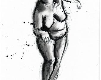 Nude sketch - 8x12 Ink painting on canvas 20x30cm -  gracefully dancing woman