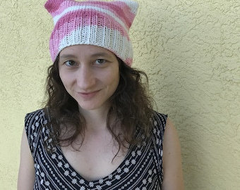pink + white 100% cotton pussy hat : all proceeds to Planned Parenthood