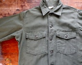 Vintage 1960s  US Army OG-107 Cotton Sateen Utility Field Shirt