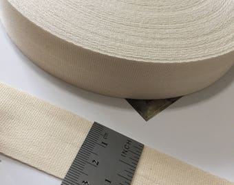 3cm or 1.25 inch or 30mm Wide Natural Cotton Twill Tape, light-weight Natural Cotton Tape for Crafting, Sewing, Stamping, and Brand labels