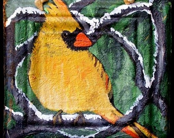 Original Yellow Cardinal Painting on a Textured 100 year old tin tile/ceiling tile/antique/reclaimed/wild flowers/Linda Kelly/bright