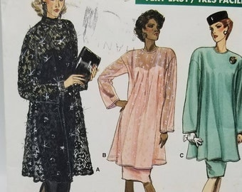 Vogue 7097 Misses Formal Dress and Tunic Pattern Misses size 20 22 24 Vintage 1980s Formal Loose fitting Dress Pattern