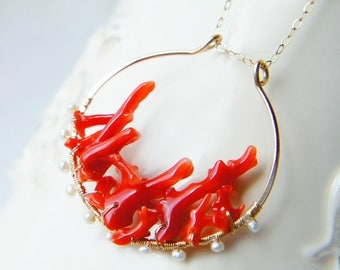 Japanese Red Coral Pendant Necklace, Aka Coral Branches Jewelry, Beach Resort Jewelry