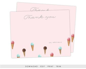 Ice Cream Stationery | A2 Printable Ice Cream Notecards, Ice Cream Thank You, Digital Download, Stationery Template, Ice Cream Template, PDF
