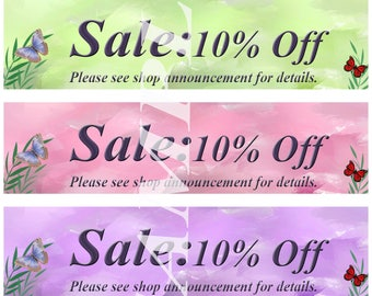 Shop Sale Banners, Ten Percent Off Shop Sale Banners, Instant Download Shop Banners, Advertise Your Sale Banners, Ten Percent Off Banners