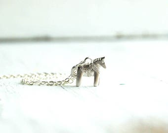 Silver Horse Necklace, Tiny Dala Horse Necklace, Swedish Horse, Equestrian Jewelry, Horse Lover, Toy Horse Pendant, Christmas Horse