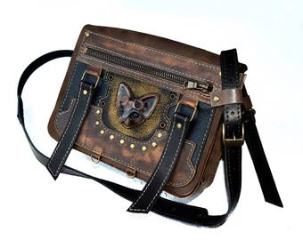 Steampunk Messenger bag Steampunk gift Cat bag Brown bag Small womens bag Steampunk bag Steampunk goggles Womens bag everyday Steampunk cat