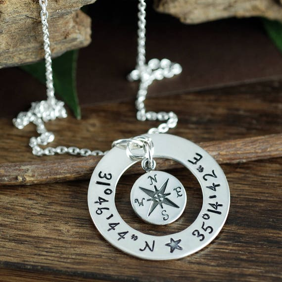 Latitude and Longitude Necklace, Hand Stamped Compass Necklace, Coordinate Necklace, Travel Necklace, Journey Necklace, Location Necklace
