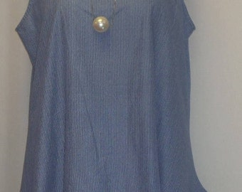 Coco and Juan, Lagenlook, Plus Size Tank, Blue Chambray, Cotton Tank, Angled Tank, Plus Size Tunic, Top Size 1 Fits 1X,2X Bust 51 inches