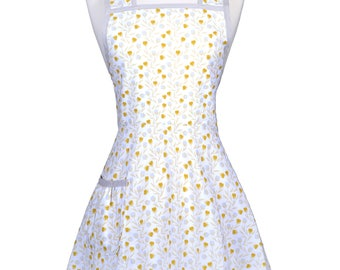 50s Style Retro Apron . Gold Gray Floral on Ivory Womans Vintage Inspired Old Fashioned Cute Full Coverage Kitchen Apron with Pockets (CS)
