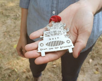 Home for the Holidays Christmas Ornament, Custom 2017 Holiday Truck Ornament, Family Ornament, Travel Christmas Ornament, Home
