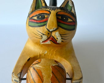 Vintage Mexican Primitive Indigenous Folk Art Painted Wooden Cat Toy Car Figurine (1970s)