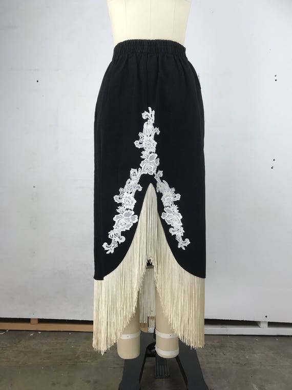 80s Black Midi Skirt with White Floral Applique and Ivory Fringe