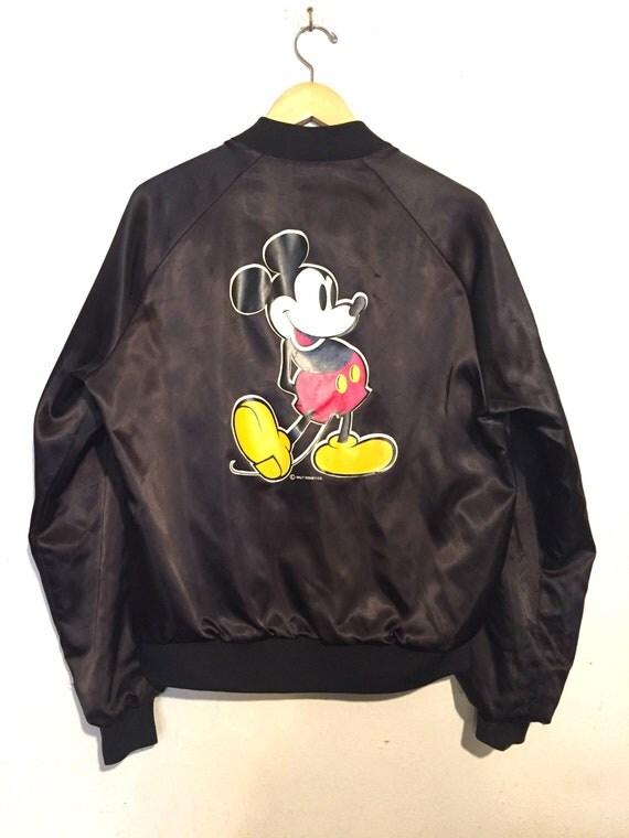 80s Mickey Mouse Satin Bomber Jacket