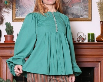 Vintage 70s Peppermint Balloon Sleeve Smock Top S