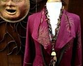 Plum Linen Jacket, Up*cycled Serrahna Linen Coat/Jacket, Hand Embroidered Linen Coat, Bohemian