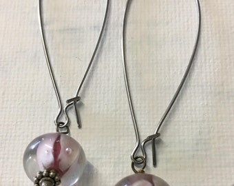 Sale - Pink Lampwork Dangle Earrings