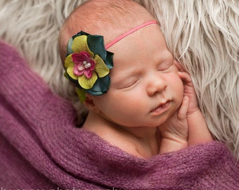 baby headband, newborn headbands, Vintage Inspired Teal Aqua Blue flower headbands, newborn photography props