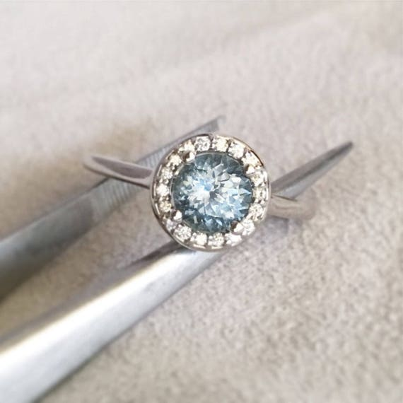 Denim Blue Montana Sapphire Diamond Halo Ring White Gold