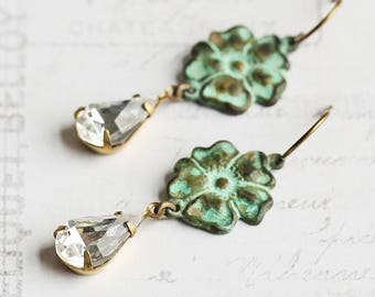 Clear Rhinestone Drop Earrings with Patina Pansy Flower Accents on Antiqued Brass Hooks (Vintage Glass)