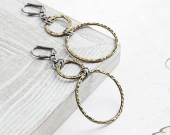 Long Antiqued Gold Plated Circle Hoop Dangle Earrings with Gunmetal Black Hooks