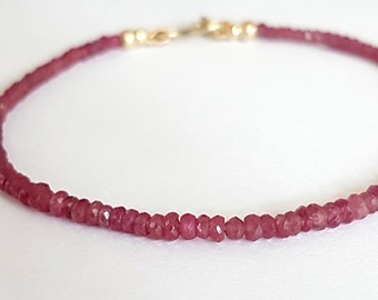 Red Ruby Beaded Bracelet, Beaded Bracelet, Ruby Jewelry, Handmade Bracelets, July Birthstone, Stacking Gemstone Bracelets, Venexia Jewelry