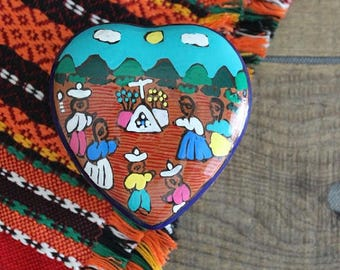 Vintage Mexican Folk Art Trinket Box, Small Heart Box