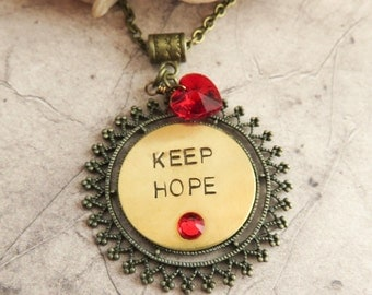 Keep Hope necklace, inspirational necklace, hand stamped jewelry, friend gift, gift for her, brass and bronze