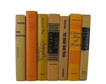 Country Home Decor, Shades of Orange Vintage Books, Fixer Upper,  Decorative Books, Old Books, Props , Table Setting , Wedding Decor