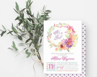 It's a Girl Baby Shower Invitation, Watercolor Flowers, Girl Baby Shower Invite, Purple, Orange, Green 835