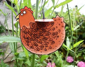Brown Hen Card - 3D handmade hanging hen card, chicken card, hen greeting card, hen birthday card, blank inside card, hen lover card