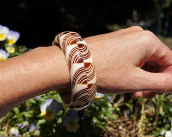 70's Lea Stein Rhodoid Bangle Bracelet Carmel Cream