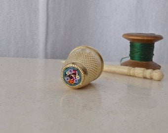 Vintage Marino Glass Brass Thimble Vintage Sewing Room Thimble Collector 1980s