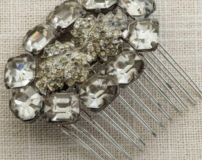 Art Deco Rhinestone Leaf Oval Shaped Hair Clip Embellished Comb Handmade in USA Hair Pins 16V
