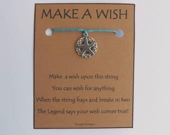 Starfish Disc Silvertone Charm WISH STRING Bracelet String Friendship Bracelet  Amulet Lucky Stocking Stuffer
